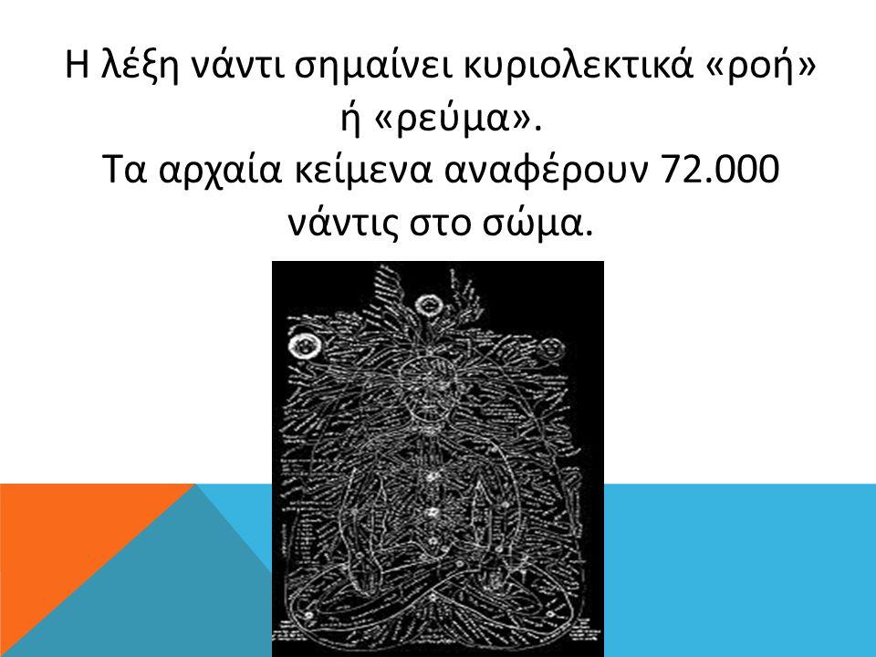 Η λέξη νάντι σημαίνει κυριολεκτικά «ροή» ή «ρεύμα». Τα αρχαία κείμενα αναφέρουν 72.000 νάντις στο σώμα.