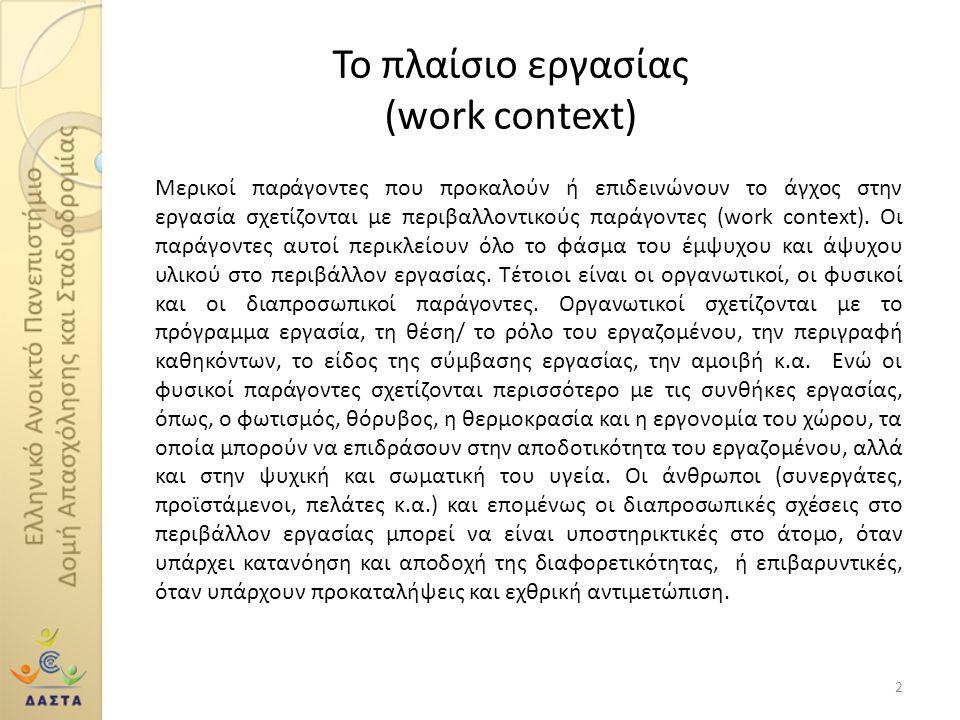 Το πλαίσιο εργασίας (work context) Μερικοί παράγοντες που προκαλούν ή επιδεινώνουν το άγχος στην εργασία σχετίζονται με περιβαλλοντικούς παράγοντες (w
