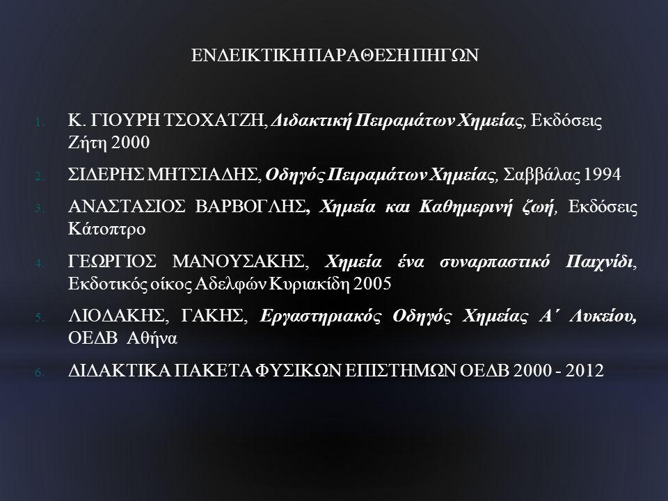 ΕΝΔΕΙΚΤΙΚΗ ΠΑΡΑΘΕΣΗ ΠΗΓΩΝ 1. Κ. ΓΙΟΥΡΗ ΤΣΟΧΑΤΖΗ, Διδακτική Πειραμάτων Χημείας, Εκδόσεις Ζήτη 2000 2. ΣΙΔΕΡΗΣ ΜΗΤΣΙΑΔΗΣ, Οδηγός Πειραμάτων Χημείας, Σαβ