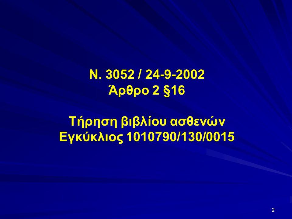 Ν. 3052 / 24-9-2002 Άρθρο 2 §16 Τήρηση βιβλίου ασθενών Εγκύκλιος 1010790/130/0015 2