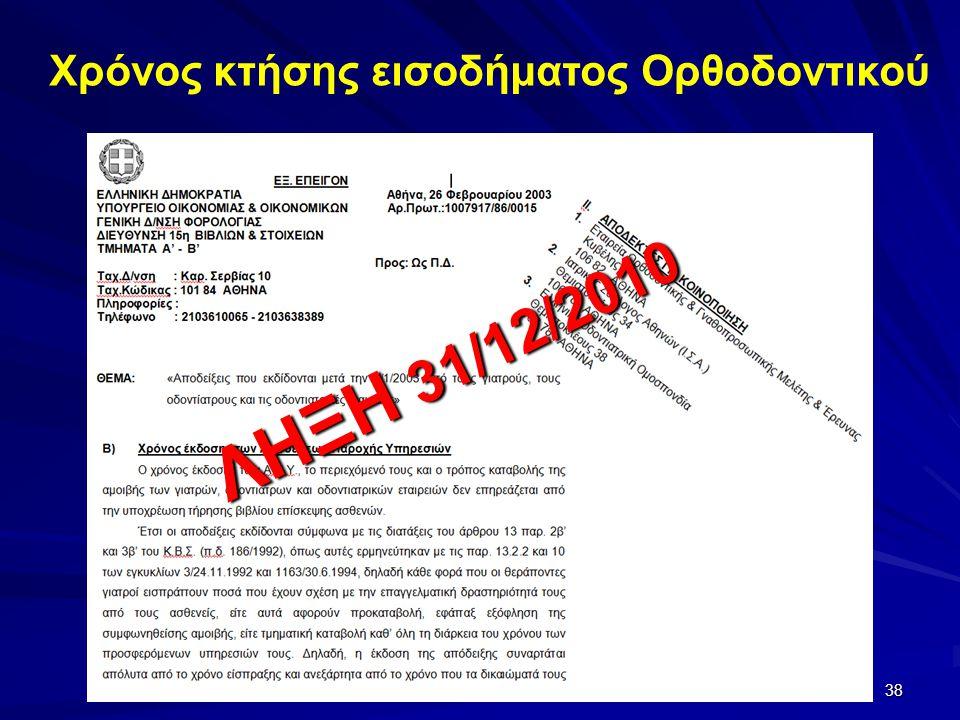 Χρόνος κτήσης εισοδήματος Ορθοδοντικού ΛΗΞΗ 31/12/2010 38