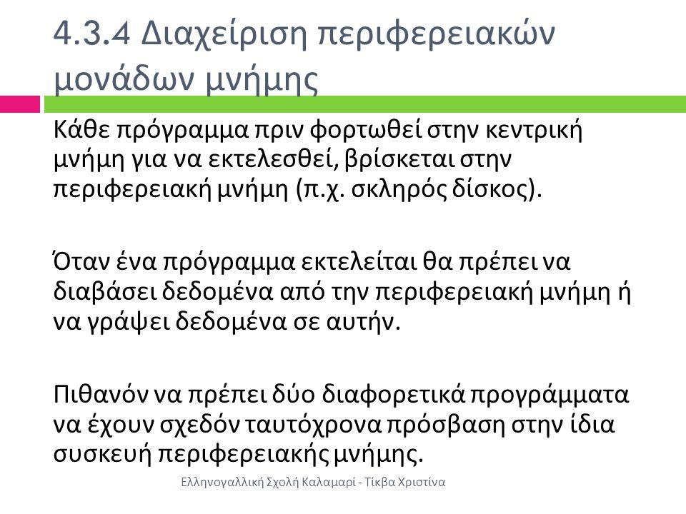 4.3.4 Διαχείριση περιφερειακών μονάδων μνήμης Ελληνογαλλική Σχολή Καλαμαρί - Τίκβα Χριστίνα Κάθε πρόγραμμα πριν φορτωθεί στην κεντρική μνήμη για να εκ