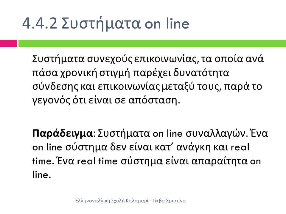 4.4.2 Συστήματα on line Ελληνογαλλική Σχολή Καλαμαρί - Τίκβα Χριστίνα Συστήματα συνεχούς επικοινωνίας, τα οποία ανά πάσα χρονική στιγμή παρέχει δυνατό