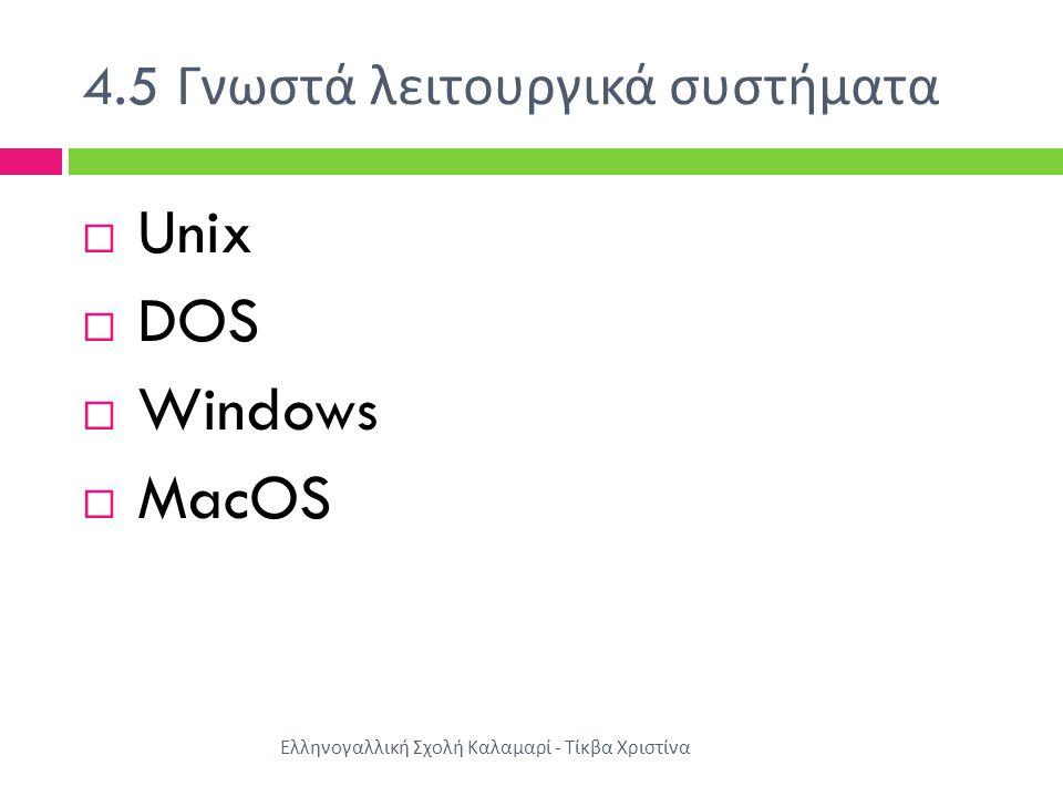 4.5 Γνωστά λειτουργικά συστήματα Ελληνογαλλική Σχολή Καλαμαρί - Τίκβα Χριστίνα  Unix  DOS  Windows  MacOS