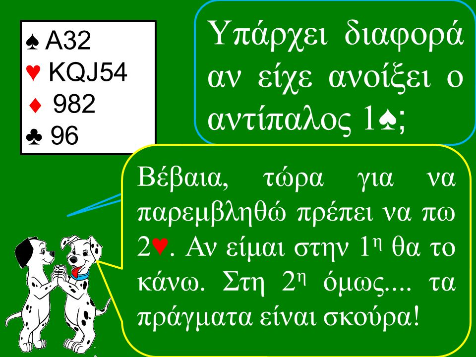 ♠ Α32 ♥ KQJ54  982 ♣ 96 Βέβαια, τώρα για να παρεμβληθώ πρέπει να πω 2 ♥.