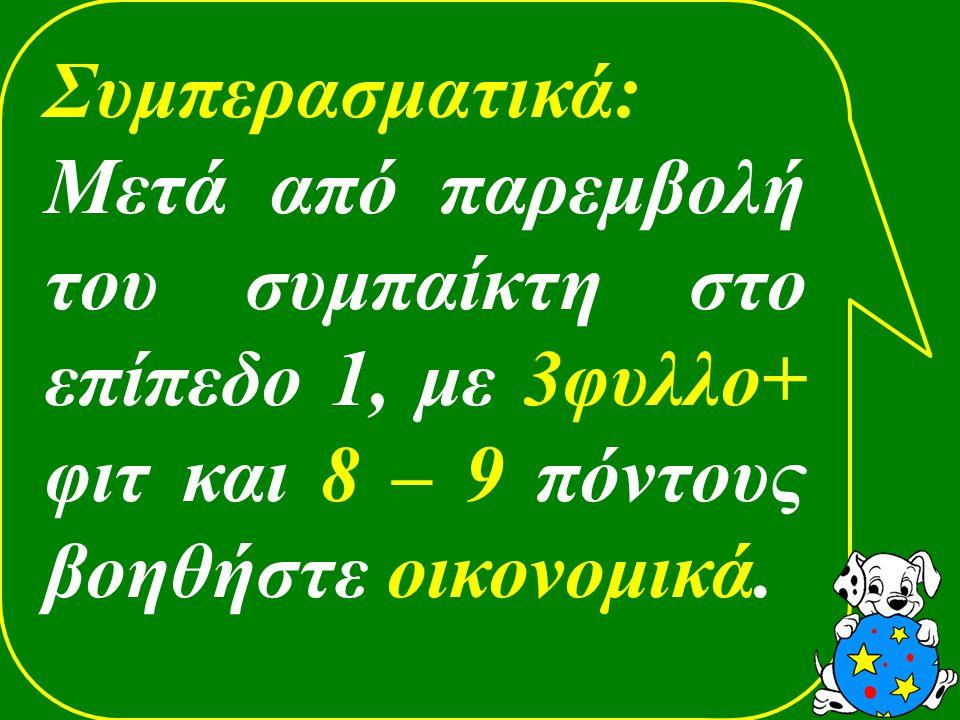 Συμπερασματικά: Μετά από παρεμβολή του συμπαίκτη στο επίπεδο 1, με 3φυλλο+ φιτ και 8 – 9 πόντους βοηθήστε οικονομικά.