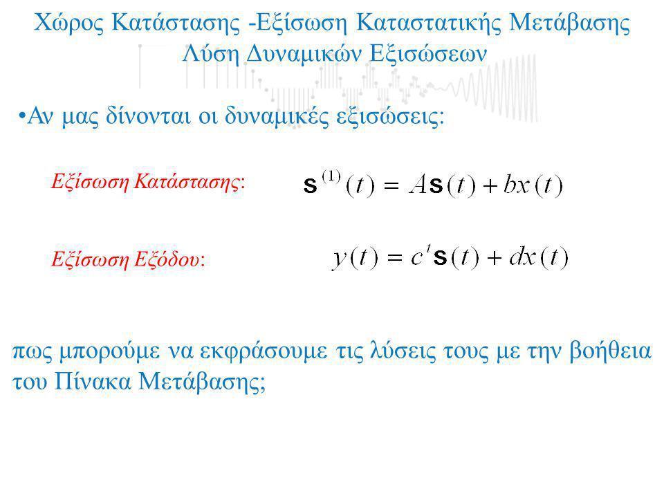 Χώρος Κατάστασης -Εξίσωση Καταστατικής Μετάβασης Λύση Δυναμικών Εξισώσεων Εξίσωση Κατάστασης: Εξίσωση Εξόδου: •Αν μας δίνονται οι δυναμικές εξισώσεις: