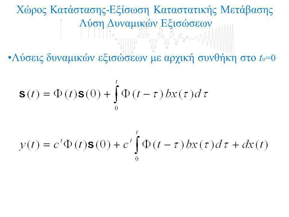 Χώρος Κατάστασης-Εξίσωση Καταστατικής Μετάβασης Λύση Δυναμικών Εξισώσεων •Λύσεις δυναμικών εξισώσεων με αρχική συνθήκη στο t ο =0