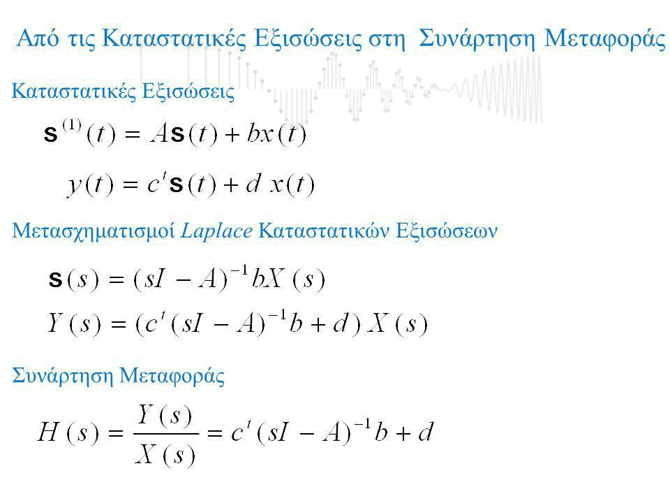 Μετασχηματισμοί Διανύσματος Κατάστασης Ισοδύναμα Συστήματα Έστω ένα σύστημα {Α, b, c, d} με Συνάρτηση Μεταφοράς Aν P ένας αντιστρέψιμος Πίνακας, ποιά είναι η Συνάρτηση Μεταφοράς του συστήματος {A s, b s, c s, d s };