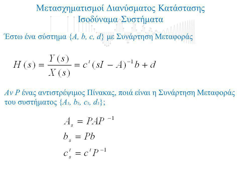 Μετασχηματισμοί Διανύσματος Κατάστασης Ισοδύναμα Συστήματα Έστω ένα σύστημα {Α, b, c, d} με Συνάρτηση Μεταφοράς Aν P ένας αντιστρέψιμος Πίνακας, ποιά