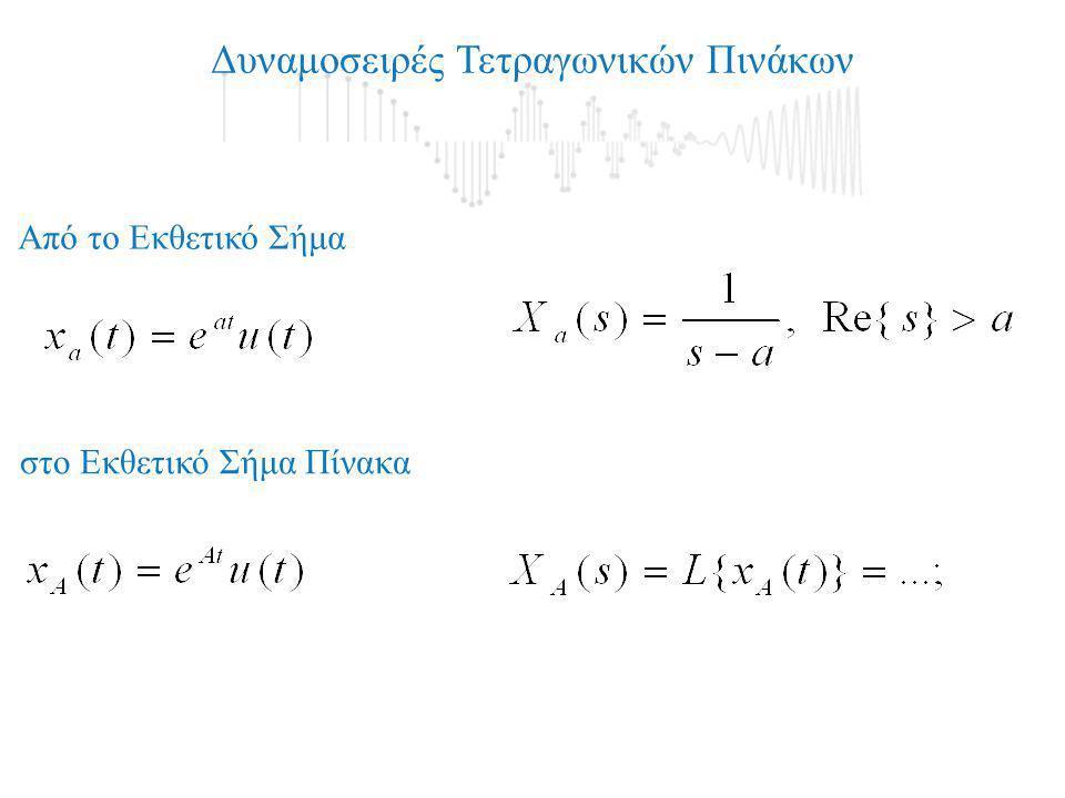 Μετασχηματισμός Laplace Πίνακα και επομένως η Κρουστική Απόκριση θα δίνεται από τη Σχέση: ΑΡΑ: