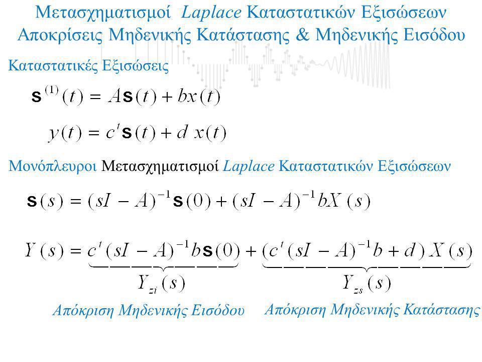 Μετασχηματισμοί Laplace Καταστατικών Εξισώσεων Αποκρίσεις Μηδενικής Κατάστασης & Μηδενικής Εισόδου Καταστατικές Εξισώσεις Μονόπλευροι Μετασχηματισμοί
