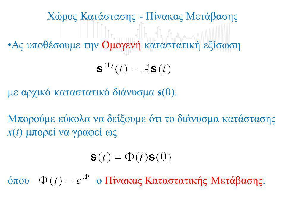 Χώρος Κατάστασης - Πίνακας Μετάβασης •Ας υποθέσουμε την Ομογενή καταστατική εξίσωση με αρχικό καταστατικό διάνυσμα s(0). Μπορούμε εύκολα να δείξουμε ό
