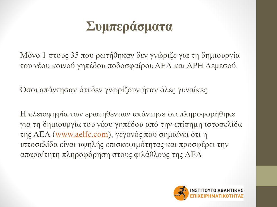 Συμπεράσματα Μόνο 1 στους 35 που ρωτήθηκαν δεν γνώριζε για τη δημιουργία του νέου κοινού γηπέδου ποδοσφαίρου ΑΕΛ και ΑΡΗ Λεμεσού.