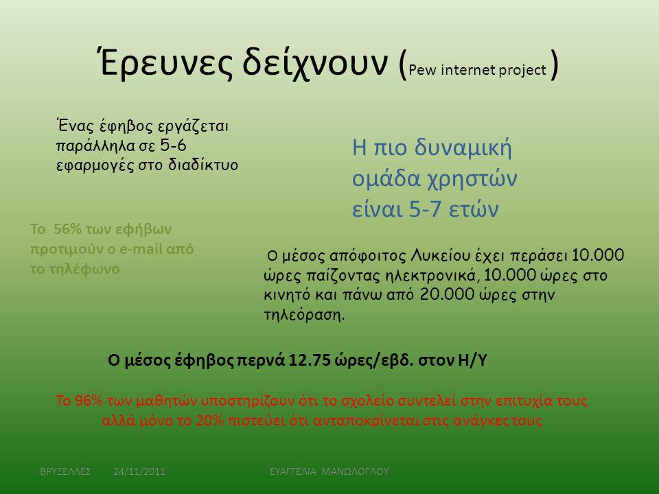 Έρευνες δείχνουν ( Pew internet project ) ΒΡΥΞΕΛΛΕΣ 24/11/2011ΕΥΑΓΓΕΛΙΑ ΜΑΝΩΛΟΓΛΟΥ Ένας έφηβος εργάζεται παράλληλα σε 5-6 εφαρμογές στο διαδίκτυο Η πι