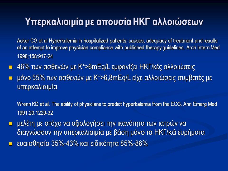 Φαρμακευτικά αίτια υπερκαλιαιμίας  Αναστολή συστήματος ρενίνης-αγγειοτενσίνης-αλδοστερόνης:  αναστολείς ενζύμου μετατροπής αγγειοτενσίνης (α-ΜΕΑ)  ανταγωνιστές υποδοχέων αγγειοτενσίνης (ΑΥΑ)  αναστολείς ρενίνης  ανταγωνιστές αλδοστερόνης  Μη στεροειδή αντιφλεγμονώδη, Κυκλοσπορίνη : αναστέλλουν την παραγωγή ρενίνης  Καλιοσυντηρητικά διουρητικά: αμιλορίδη  Ηπαρίνη: αναστέλλει τη σύνθεση της Αλδοστερόνης σε ασθενείς με επηρεασμένη νεφρική λειτουργία  Γλυκοσίδες:αναστέλλουν τη λειτουργία της Νa + -K + -ATPάσης  Σουκινιλοχολίνη( αντένδειξη σε εγκαυματίες, crash syndrome και νευρομυϊκά νοσήματα)  Μαννιτόλη, υπεργλυκαιμία με απουσία ινσουλίνης: λόγω υπερωσμωτικότητας προάγουν την έξοδο Η 2 Ο που συμπαρασύρει Κ + από το εσωτερικό του κυττάρου Perazella MA.