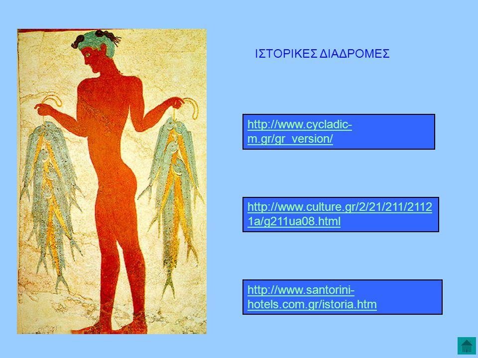 ΙΣΤΟΡΙΚΕΣ ΔΙΑΔΡΟΜΕΣ http://www.cycladic- m.gr/gr_version/ http://www.culture.gr/2/21/211/2112 1a/g211ua08.html http://www.santorini- hotels.com.gr/istoria.htm