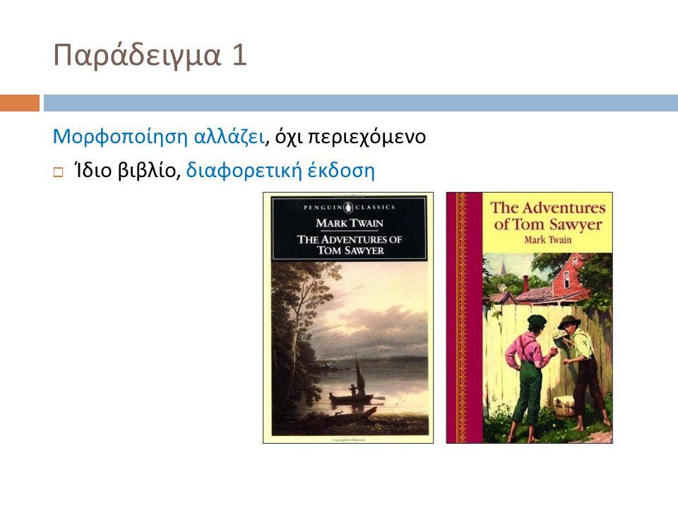 Παράδειγμα 1 Μορφοποίηση αλλάζει, όχι περιεχόμενο  Ίδιο βιβλίο, διαφορετική έκδοση