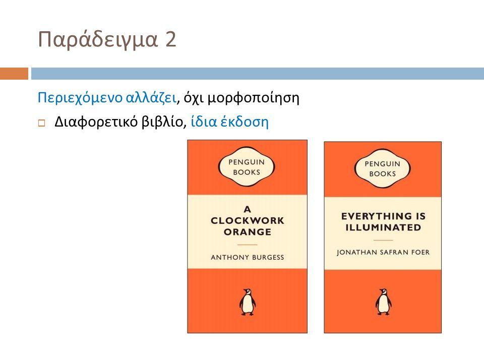 Παράδειγμα 2 Περιεχόμενο αλλάζει, όχι μορφοποίηση  Διαφορετικό βιβλίο, ίδια έκδοση