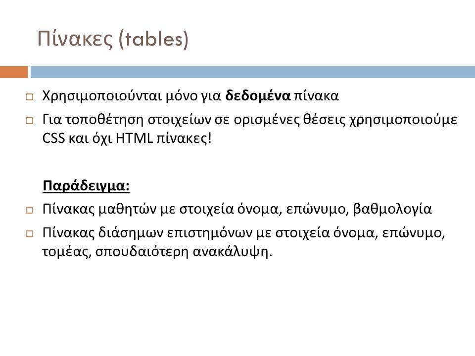 Πίνακες (tables)  Χρησιμοποιούνται μόνο για δεδομένα πίνακα  Για τοποθέτηση στοιχείων σε ορισμένες θέσεις χρησιμοποιούμε CSS και όχι HTML πίνακες .