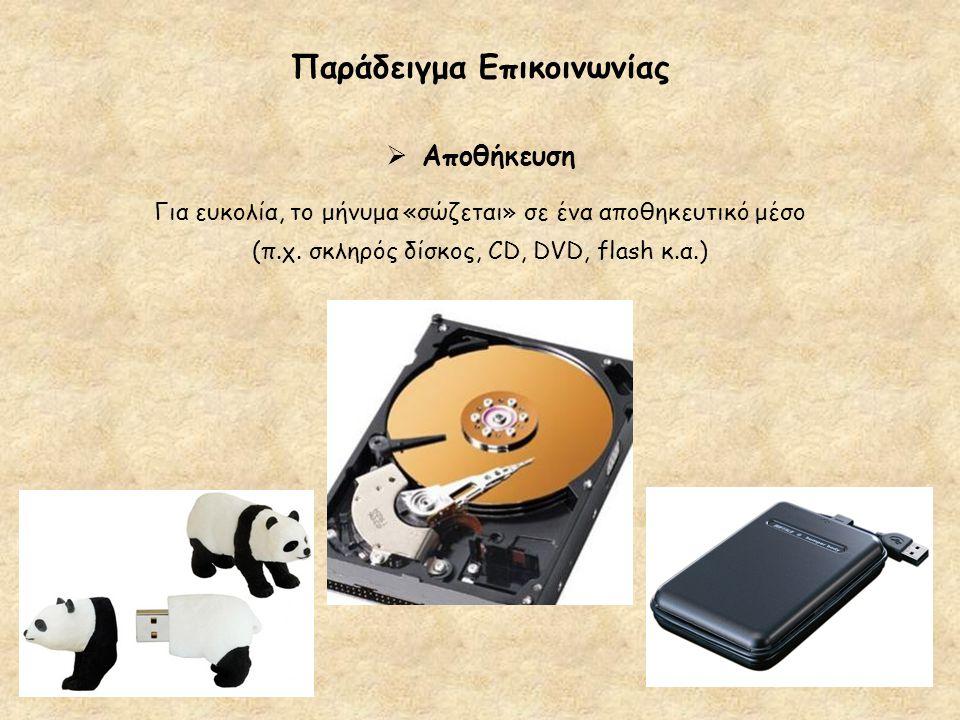 Παράδειγμα Επικοινωνίας  Αποθήκευση Για ευκολία, το μήνυμα «σώζεται» σε ένα αποθηκευτικό μέσο (π.χ. σκληρός δίσκος, CD, DVD, flash κ.α.)