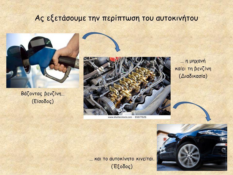 Ας εξετάσουμε την περίπτωση του αυτοκινήτου Βάζοντας βενζίνη… (Είσοδος) … η μηχανή καίει τη βενζίνη (Διαδικασία) … και το αυτοκίνητο κινείται. (Έξοδος
