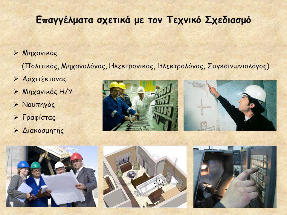 Επαγγέλματα σχετικά με τον Τεχνικό Σχεδιασμό  Μηχανικός (Πολιτικός, Μηχανολόγος, Ηλεκτρονικός, Ηλεκτρολόγος, Συγκοινωνιολόγος)  Αρχιτέκτονας  Μηχαν