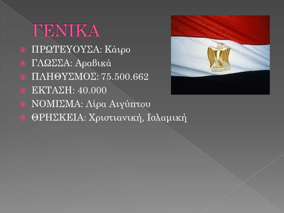  ΠΡΩΤΕΥΟΥΣΑ: Κάιρο  ΓΛΩΣΣΑ: Αραβικά  ΠΛΗΘΥΣΜΟΣ: 75.500.662  ΕΚΤΑΣΗ: 40.000  ΝΟΜΙΣΜΑ: Λίρα Αιγύπτου  ΘΡΗΣΚΕΙΑ: Χριστιανική, Ισλαμική