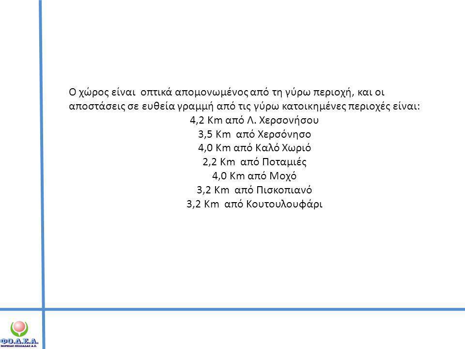 Ο χώρος είναι οπτικά απομονωμένος από τη γύρω περιοχή, και οι αποστάσεις σε ευθεία γραμμή από τις γύρω κατοικημένες περιοχές είναι: 4,2 Km από Λ. Χερσ