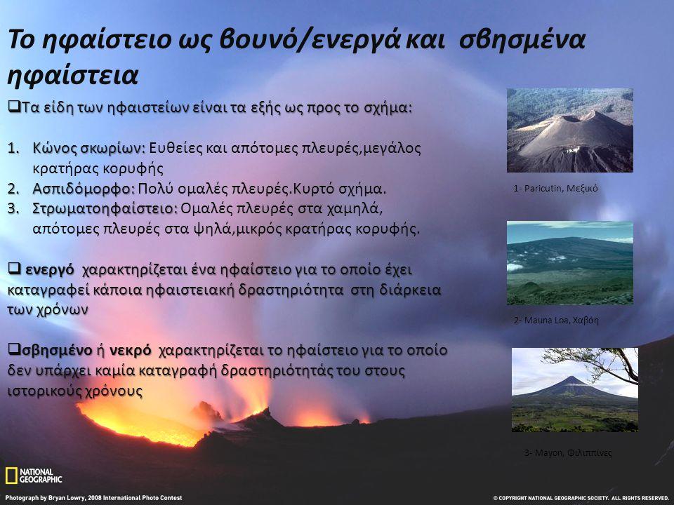 Το ηφαίστειο ως βουνό/ενεργά και σβησμένα ηφαίστεια  Τα είδη των ηφαιστείων είναι τα εξής ως προς το σχήμα: 1.Κώνος σκωρίων: 1.Κώνος σκωρίων: Ευθείες και απότομες πλευρές,μεγάλος κρατήρας κορυφής 2.Ασπιδόμορφο: 2.Ασπιδόμορφο: Πολύ ομαλές πλευρές.Κυρτό σχήμα.