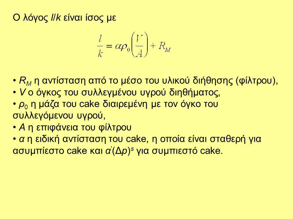 Ο λόγος l/k είναι ίσος με • R M η αντίσταση από το μέσο του υλικού διήθησης (φίλτρου), • V ο όγκος του συλλεγμένου υγρού διηθήματος, • ρ 0 η μάζα του
