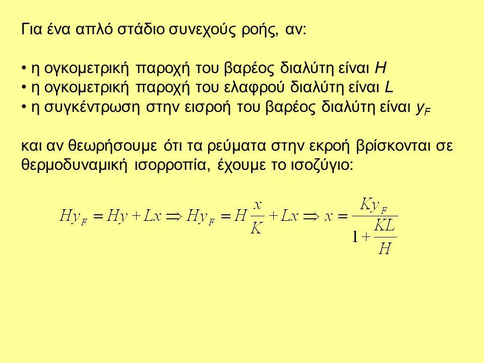 Για ένα απλό στάδιο συνεχούς ροής, αν: • η ογκομετρική παροχή του βαρέoς διαλύτη είναι H • η ογκομετρική παροχή του ελαφρού διαλύτη είναι L • η συγκέν