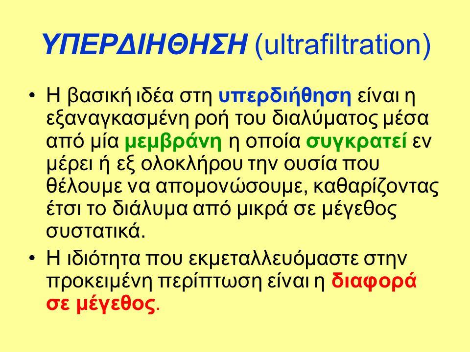 ΥΠΕΡΔΙΗΘΗΣΗ (ultrafiltration) •Η βασική ιδέα στη υπερδιήθηση είναι η εξαναγκασμένη ροή του διαλύματος μέσα από μία μεμβράνη η οποία συγκρατεί εν μέρει