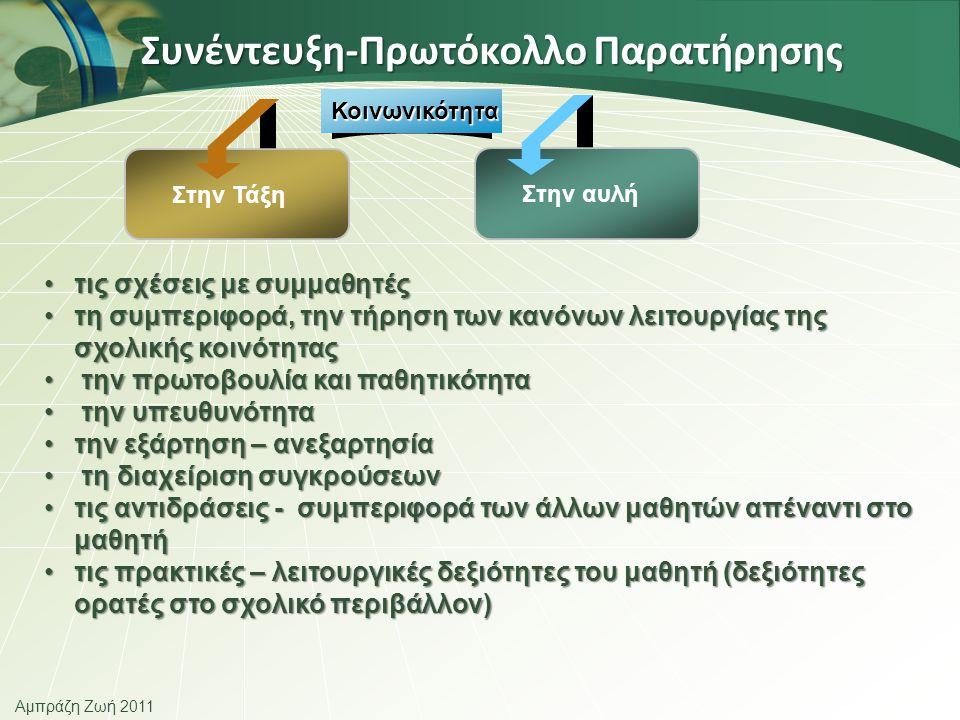 Αμπράζη Ζωή 2011 Συνέντευξη-Πρωτόκολλο Παρατήρησης Κοινωνικότητα •τις σχέσεις με συμμαθητές •τη συμπεριφορά, την τήρηση των κανόνων λειτουργίας της σχολικής κοινότητας • την πρωτοβουλία και παθητικότητα • την υπευθυνότητα •την εξάρτηση – ανεξαρτησία • τη διαχείριση συγκρούσεων •τις αντιδράσεις - συμπεριφορά των άλλων μαθητών απέναντι στο μαθητή •τις πρακτικές – λειτουργικές δεξιότητες του μαθητή (δεξιότητες ορατές στο σχολικό περιβάλλον) Στην Τάξη Στην αυλή