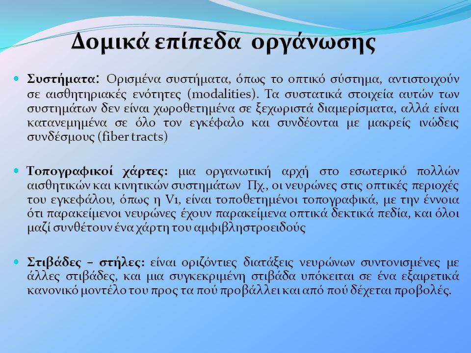  Συστήματα : Ορισμένα συστήματα, όπως το οπτικό σύστημα, αντιστοιχούν σε αισθητηριακές ενότητες (modalities). Τα συστατικά στοιχεία αυτών των συστημά