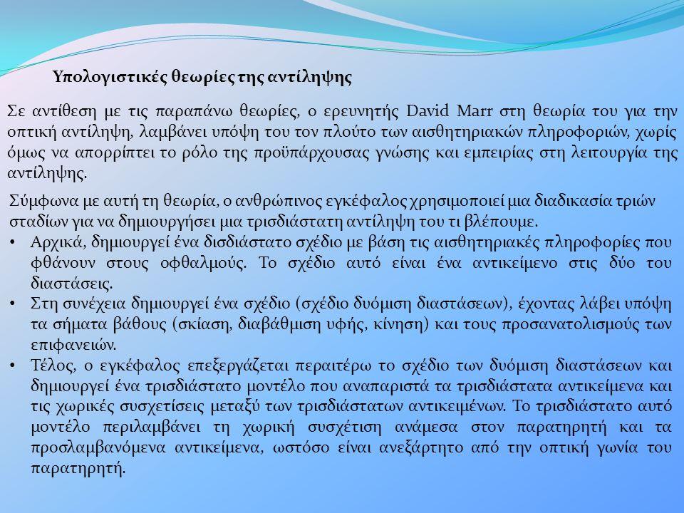 Υπολογιστικές θεωρίες της αντίληψης Σε αντίθεση με τις παραπάνω θεωρίες, ο ερευνητής David Marr στη θεωρία του για την οπτική αντίληψη, λαμβάνει υπόψη