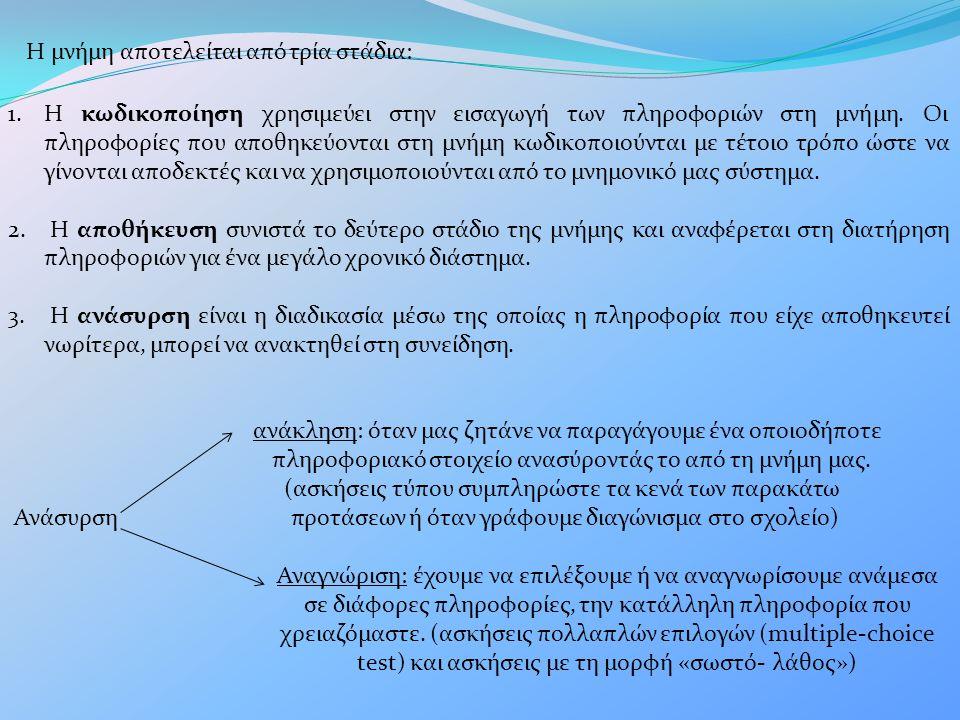 Η μνήμη αποτελείται από τρία στάδια: 1.Η κωδικοποίηση χρησιμεύει στην εισαγωγή των πληροφοριών στη μνήμη. Οι πληροφορίες που αποθηκεύονται στη μνήμη κ
