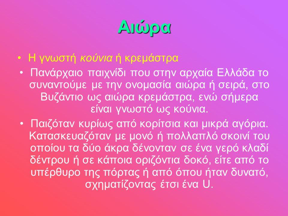 Αιώρα •Η γνωστή κούνια ή κρεμάστρα •Πανάρχαιο παιχνίδι που στην αρχαία Ελλάδα το συναντούμε με την ονομασία αιώρα ή σειρά, στο Βυζάντιο ως αιώρα κρεμά