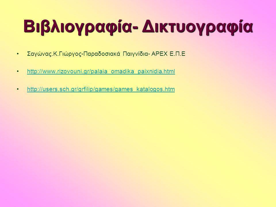 Βιβλιογραφία- Δικτυογραφία •Σαγώνας.Κ.Γιώργος-Παραδοσιακά Παιγνίδια- APEX E.Π.Ε •http://www.rizovouni.gr/palaia_omadika_paixnidia.htmlhttp://www.rizov