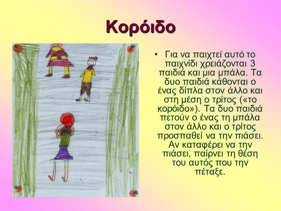 Κορόιδο •Για να παιχτεί αυτό το παιχνίδι χρειάζονται 3 παιδιά και μια μπάλα. Τα δυο παιδιά κάθονται ο ένας δίπλα στον άλλο και στη μέση ο τρίτος («το