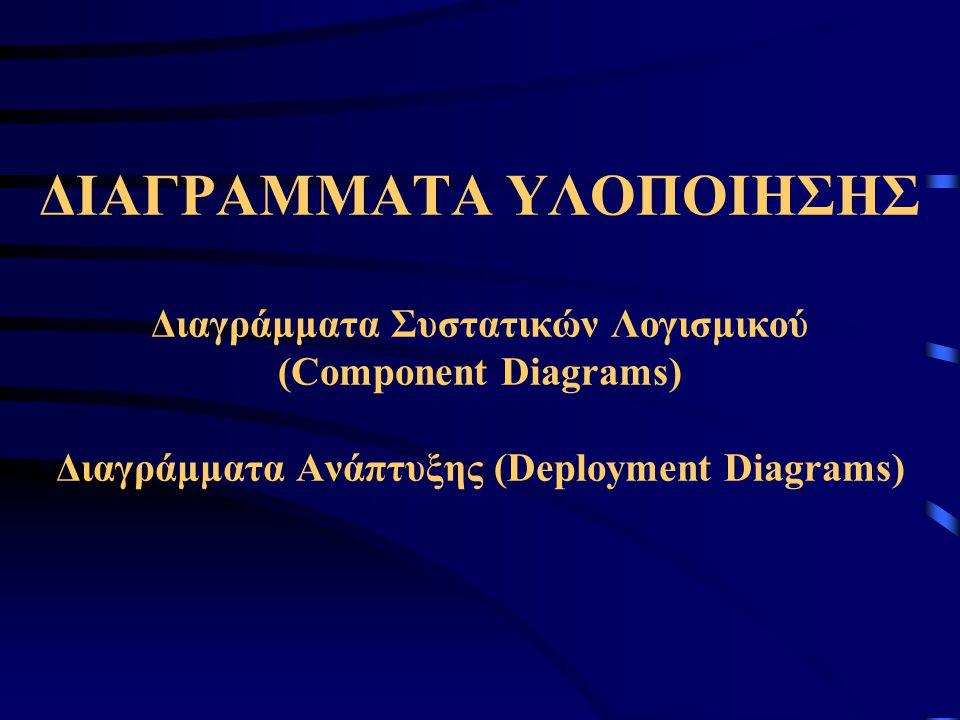 ΔΙΑΓΡΑΜΜΑΤΑ ΥΛΟΠΟΙΗΣΗΣ Διαγράμματα Συστατικών Λογισμικού (Component Diagrams) Διαγράμματα Ανάπτυξης (Deployment Diagrams)
