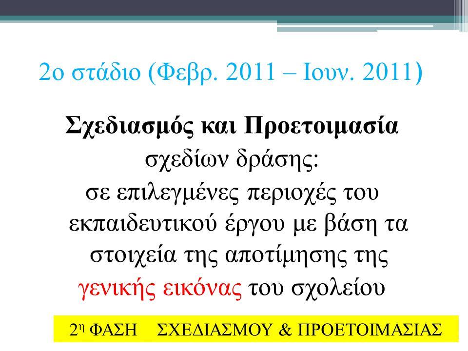 2ο στάδιο (Φεβρ. 2011 – Ιουν. 2011 ) Σχεδιασμός και Προετοιμασία σχεδίων δράσης: σε επιλεγμένες περιοχές του εκπαιδευτικού έργου με βάση τα στοιχεία τ