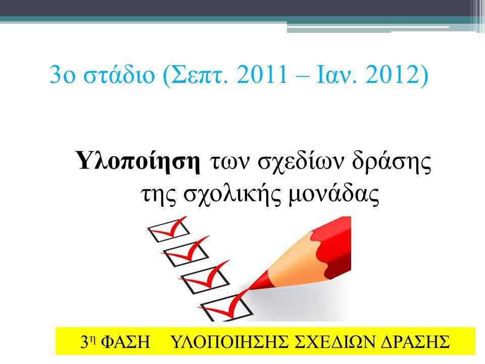 3ο στάδιο (Σεπτ. 2011 – Ιαν. 2012) Υλοποίηση των σχεδίων δράσης της σχολικής μονάδας 3 η ΦΑΣΗ ΥΛΟΠΟΙΗΣΗΣ ΣΧΕΔΙΩΝ ΔΡΑΣΗΣ