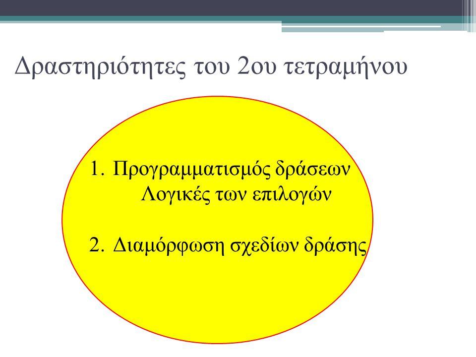 Δραστηριότητες του 2ου τετραμήνου 1.Προγραμματισμός δράσεων Λογικές των επιλογών 2.Διαμόρφωση σχεδίων δράσης