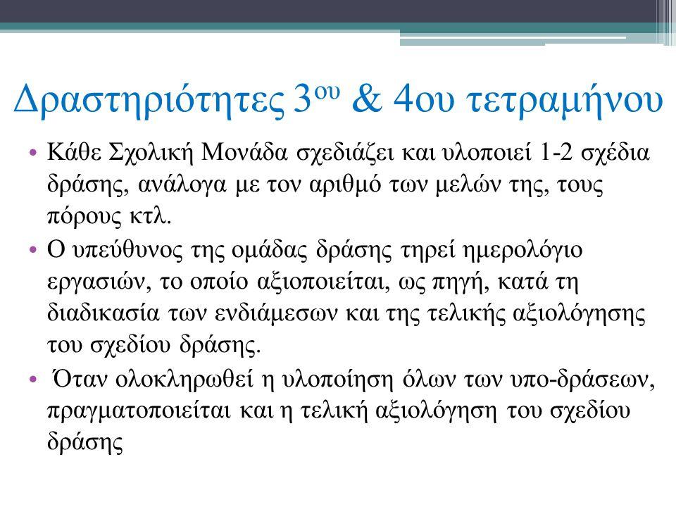 Δραστηριότητες 3 ου & 4ου τετραμήνου • Κάθε Σχολική Μονάδα σχεδιάζει και υλοποιεί 1-2 σχέδια δράσης, ανάλογα με τον αριθμό των μελών της, τους πόρους