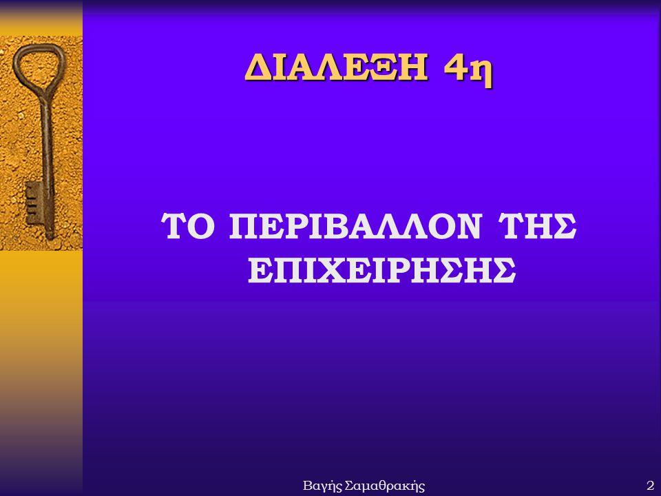 Βαγής Σαμαθρακής2 ΔΙΑΛΕΞΗ 4η ΤΟ ΠΕΡΙΒΑΛΛΟΝ ΤΗΣ ΕΠΙΧΕΙΡΗΣΗΣ