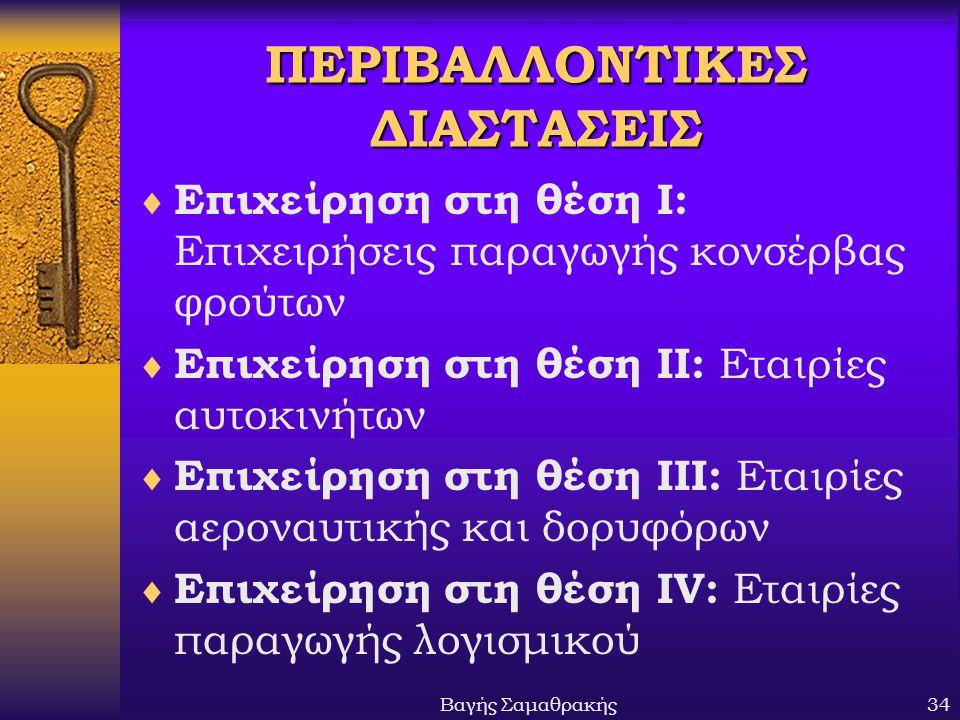 Βαγής Σαμαθρακής34 ΠΕΡΙΒΑΛΛΟΝΤΙΚΕΣ ΔΙΑΣΤΑΣΕΙΣ  Επιχείρηση στη θέση Ι: Επιχειρήσεις παραγωγής κονσέρβας φρούτων  Επιχείρηση στη θέση ΙΙ: Εταιρίες αυτ