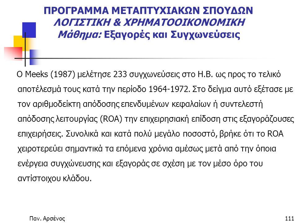 Παν. Αρσένος111 ΠΡΟΓΡΑΜΜΑ ΜΕΤΑΠΤΥΧΙΑΚΩΝ ΣΠΟΥΔΩΝ ΛΟΓΙΣΤΙΚΗ & ΧΡΗΜΑΤΟΟΙΚΟΝΟΜΙΚΗ Μάθημα: Εξαγορές και Συγχωνεύσεις Ο Meeks (1987) µελέτησε 233 συγχωνεύσε