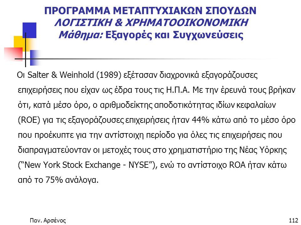 Παν. Αρσένος112 ΠΡΟΓΡΑΜΜΑ ΜΕΤΑΠΤΥΧΙΑΚΩΝ ΣΠΟΥΔΩΝ ΛΟΓΙΣΤΙΚΗ & ΧΡΗΜΑΤΟΟΙΚΟΝΟΜΙΚΗ Μάθημα: Εξαγορές και Συγχωνεύσεις Οι Salter & Weinhold (1989) εξέτασαν δ
