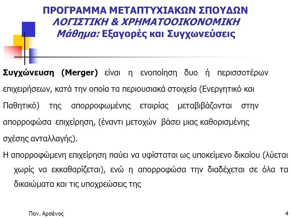 Παν. Αρσένος4 ΠΡΟΓΡΑΜΜΑ ΜΕΤΑΠΤΥΧΙΑΚΩΝ ΣΠΟΥΔΩΝ ΛΟΓΙΣΤΙΚΗ & ΧΡΗΜΑΤΟΟΙΚΟΝΟΜΙΚΗ Μάθημα: Εξαγορές και Συγχωνεύσεις Συγχώνευση(Merger) είναι η ενοποίηση δυο